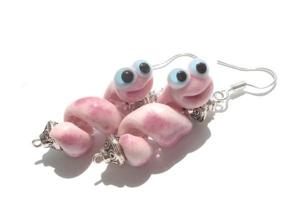 Pink snake glass lampwork earrings