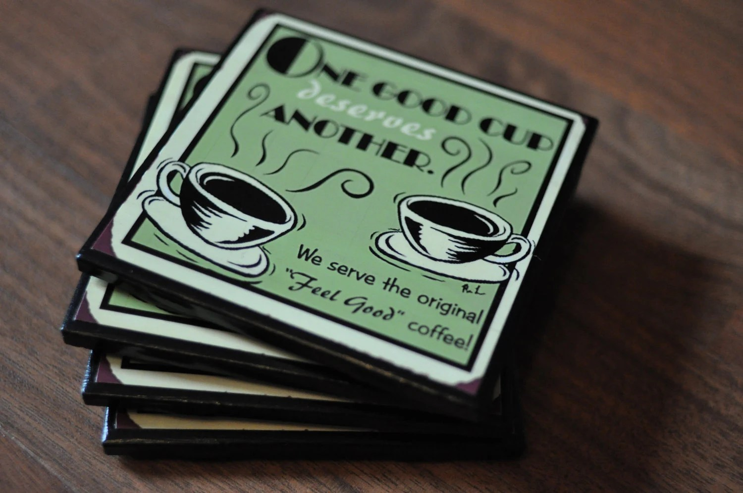 Vintage Diner Coffee Shop Ceramic Coasters - CarovaCreations