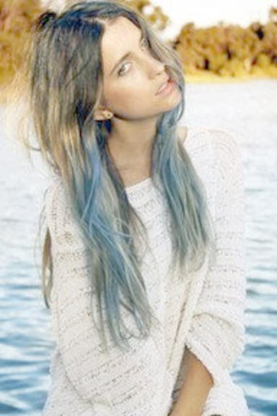 Light Blue Dip Dyed Hair Extensions For Brunette Hair 20 22