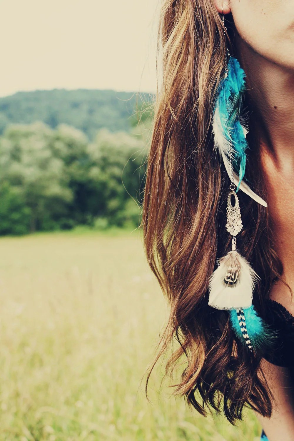 Dream Catcher Extra Long Single Feather Chain Earring Or Hair