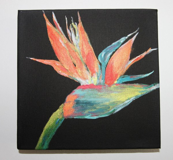 Items similar to Bird of Paradise painting, Black canvas ...