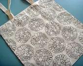 Reusable Canvas Tote Bag - linocut print, black cellular pattern - saidinlayers