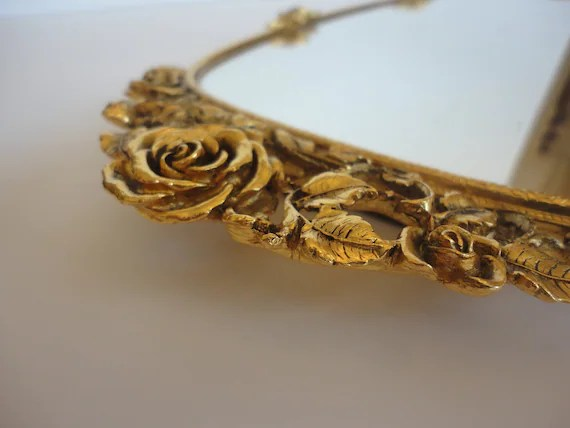 Vintage 1950s Matson Gold Rose Vanity Mirror Marked And