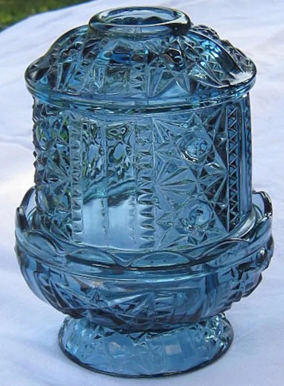 Vintage Indiana Glass BLUE FAIRY LIGHT By LavenderGardenCottag