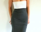 Black and white dress - strapless slip in tube dress - black grey white polka dot - size xs/s/m US 4/6/8 - Bartinki