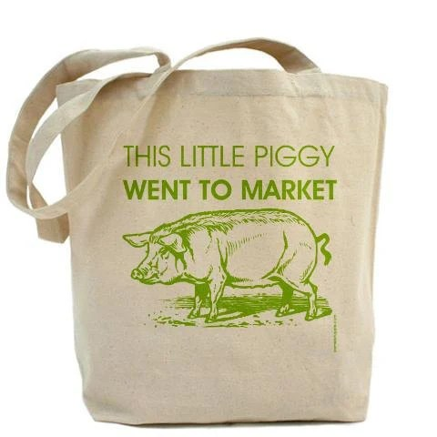 This Little Piggy Went To Market - Canvas Tote Bag - Classic Shopper - FREE SHIPPING - PamelaFugateDesigns