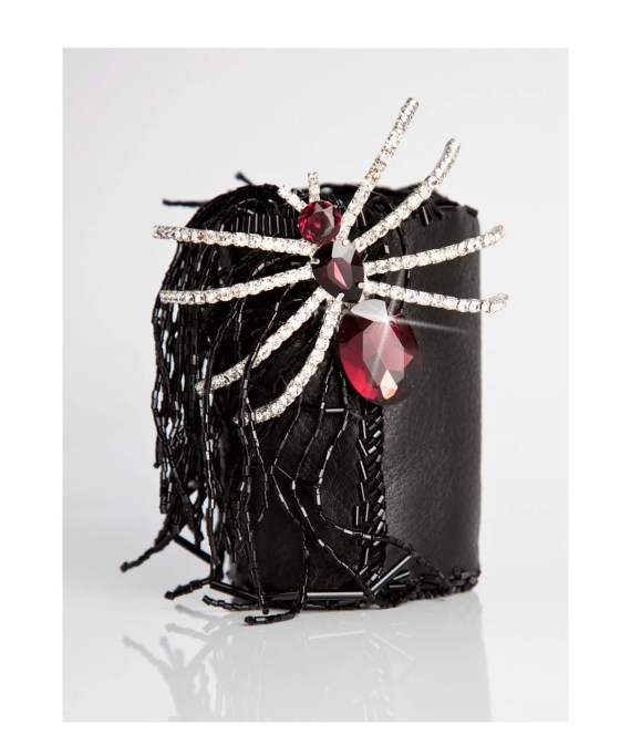 Spider Rhinestone Cuff in Black Leather - Arachnophobia - CuffNGo