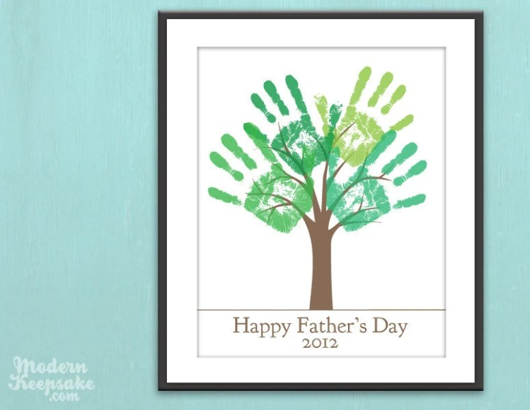 Fathers Day Last Minute Gift - DIY Child's Handprint Tree - Printable pdf