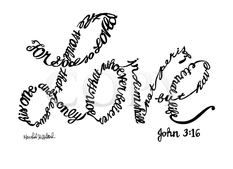 God S Love Handwritten 8x10 Print