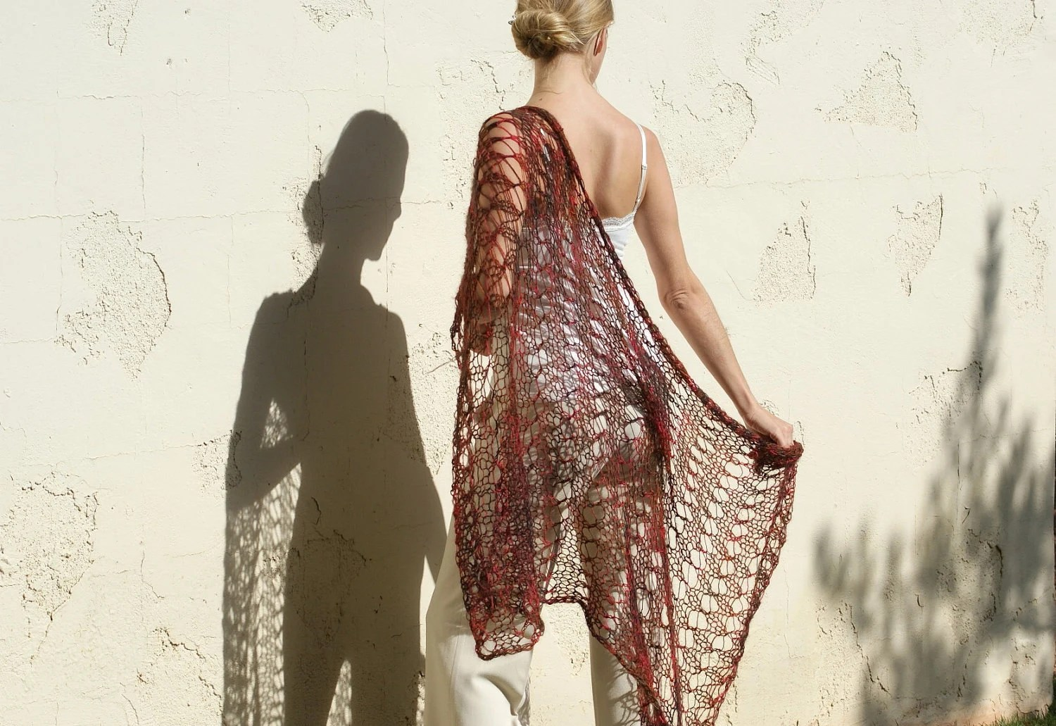 Majesty - Brown Red Brick Colored Silk Mohair Lace Shawl by Eva Bella READY TO SHIP - evabellaboutique