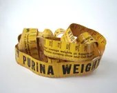 Vintage Measuring Tape for estimating weight of calves, YELLOW - macedoine