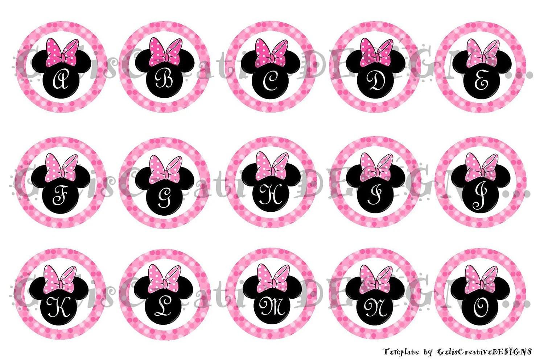Mouse Ears Abcs Digital Image Sheet For Bottlecap Crafts