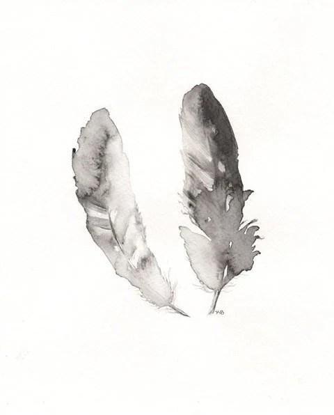 Contour Feathers/ Black, White, Grey/8x10 Archival Watercolor Print - kellybermudez