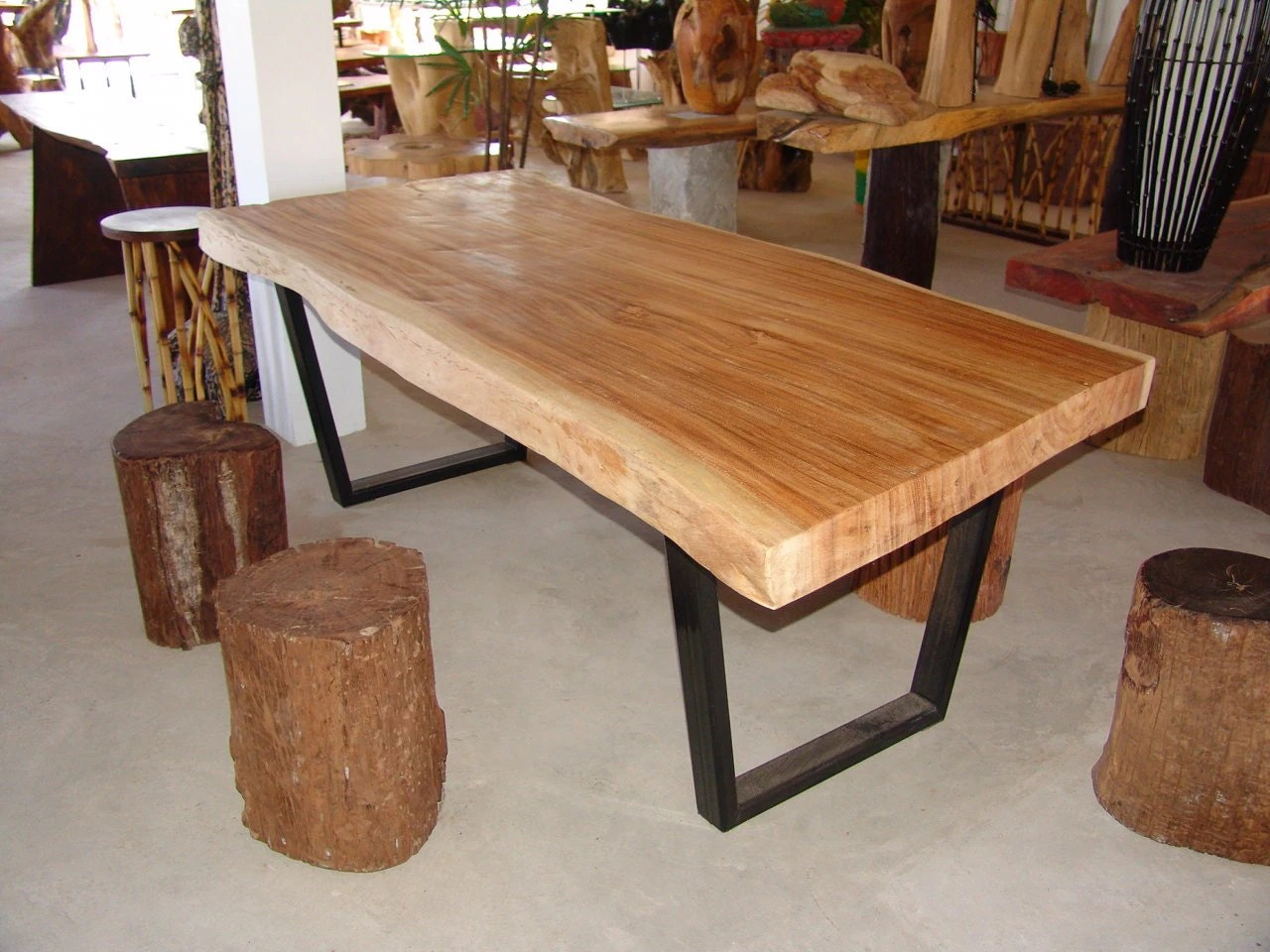 live edge dining table acacia wood live edge reclaimed solid on solid wood dining table id=70447