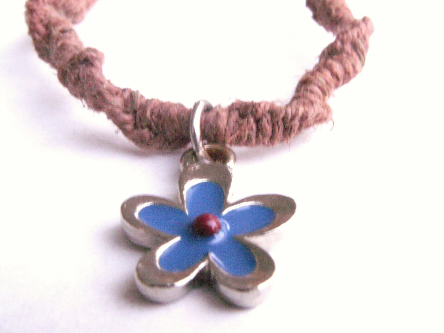 Brown Hemp Bracelet with Blue and Red Flower Pendant - StoopidHemp