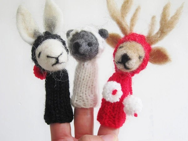 BABY  MOBILE / Wall Hanging, Rabbit Bear & Reindeer Felted Wool Finger Fuppets in Black White and Red, Children's  Soft and Nursery Decor