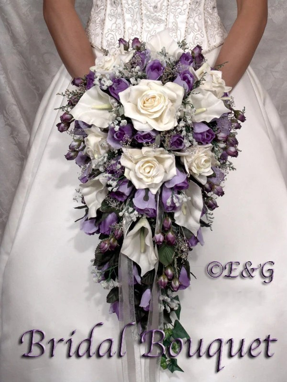 Bridal Bouquet Package Silk Flowers Cascade Bridesmaid