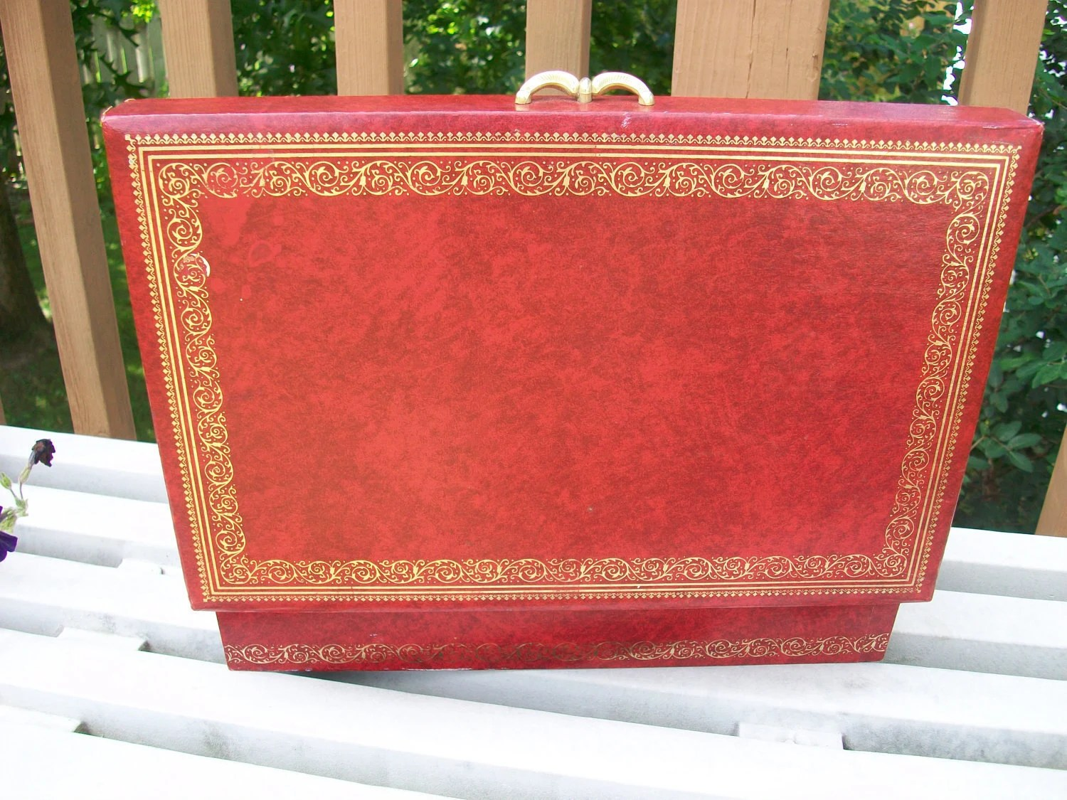Vintage Fleur De Lis On Red Jewelry Box