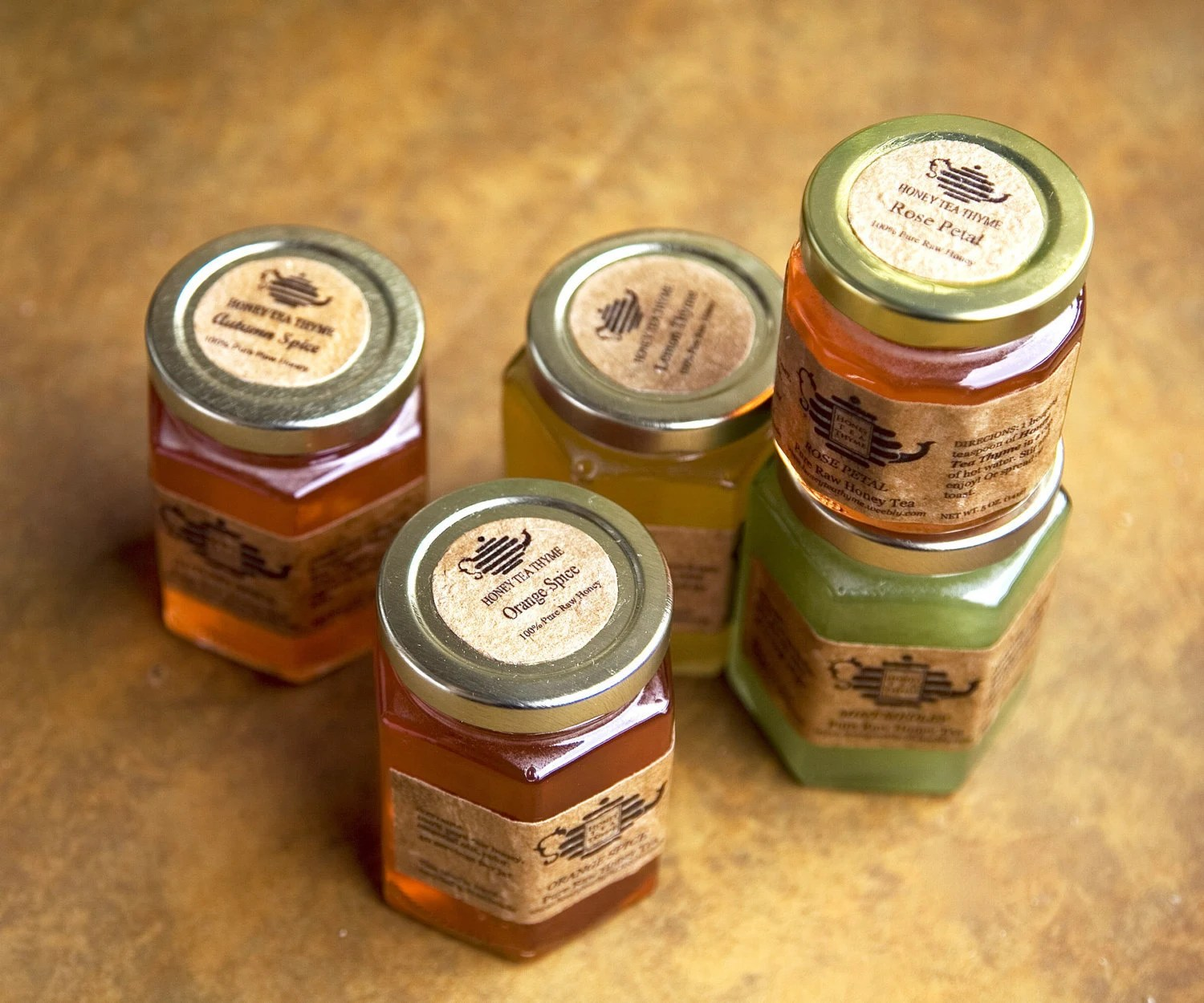 Pure Raw Honey Tea 12, 5 oz Jars Great Gift Idea, Easter or Mothers Day gift