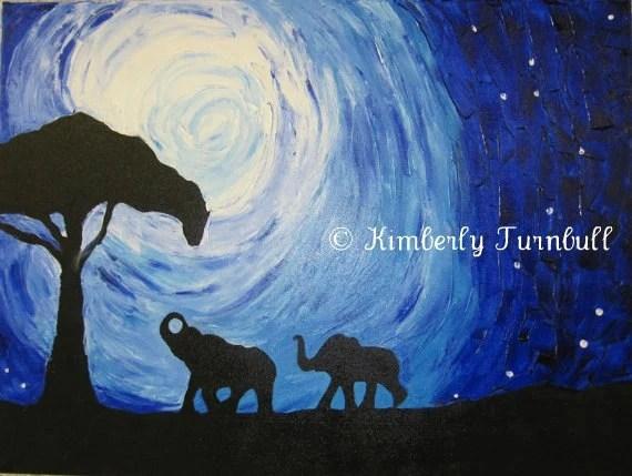 Elephants Under Moonlight, Silhouettes (Original Acrylic on Canvas) - Kim.T 11 - KimberlyTurnbullArt