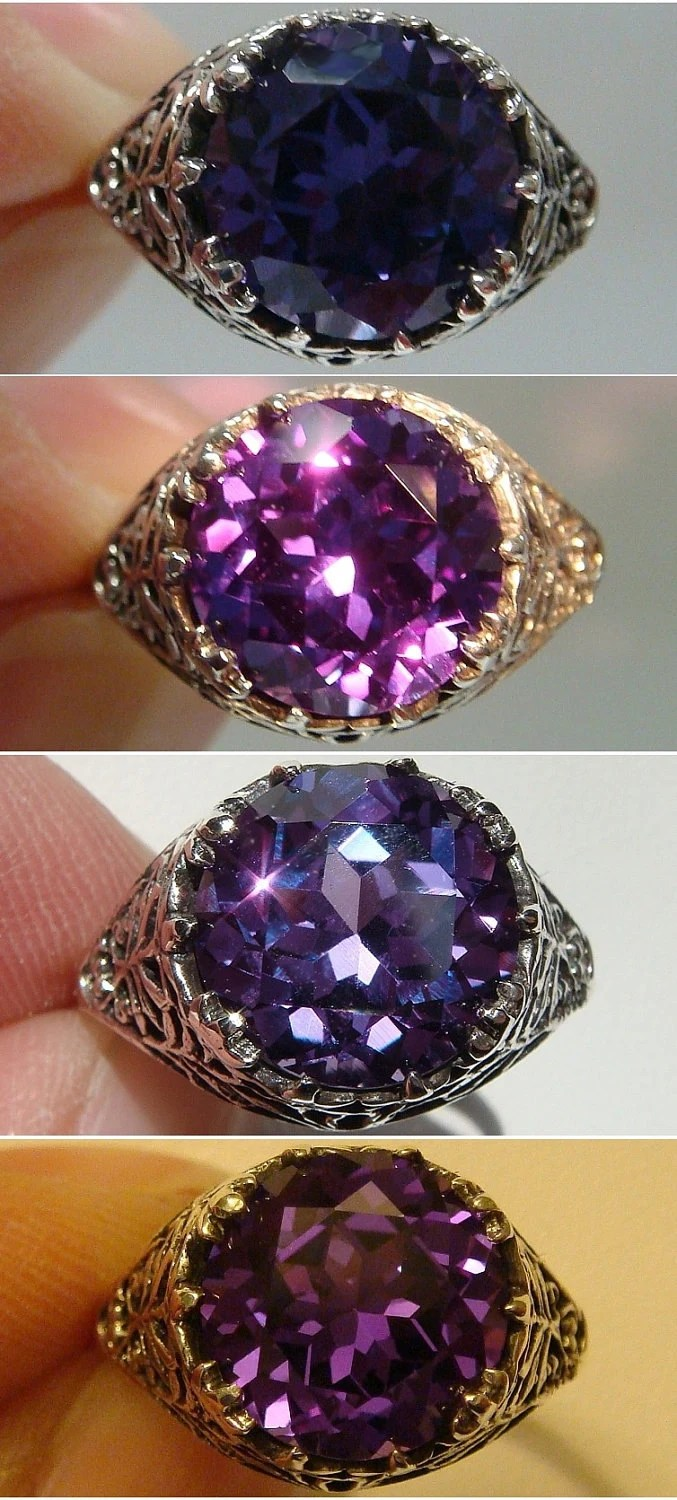 Color Change Alexandrite Filigree Sterling Silver 925 Ring