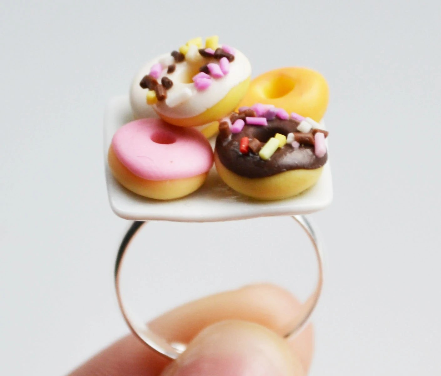 Doughnut Donut Ring, Miniature, Fimo, Polymer Clay - SweetnNeatJewellery