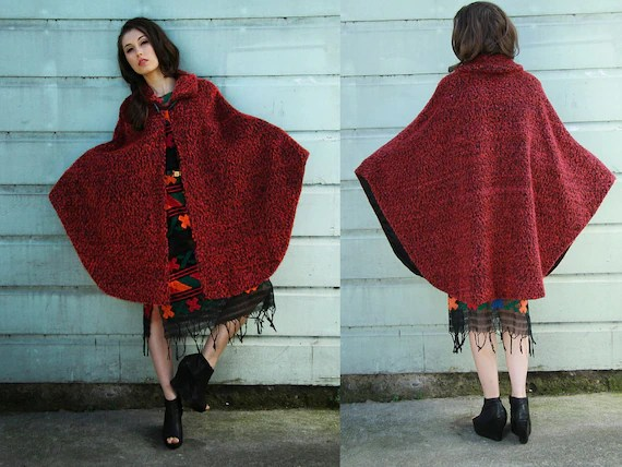 Lil Red Riding -EPIC Vintage Raspberry Cape Coat