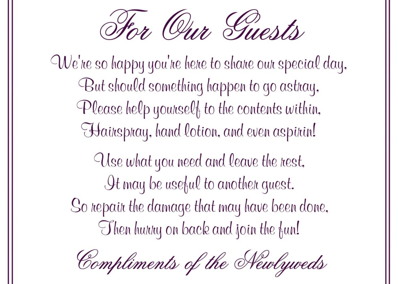 Wedding Printable Bathroom Basket Poem/Sign Digital File