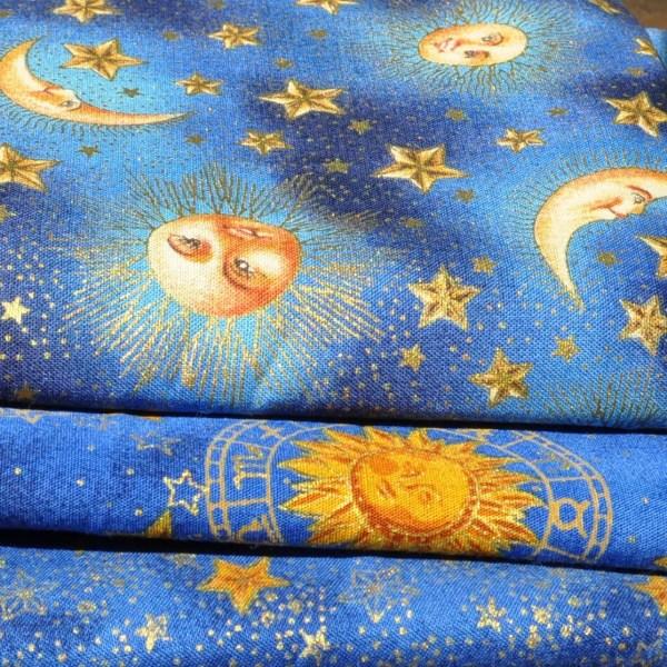 Celestial Sun Moons Stars Fabric Destash Lot of 3 Prints 2