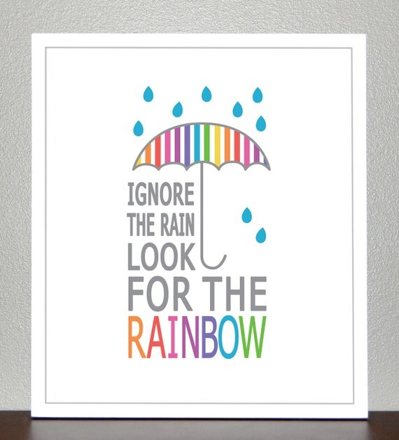 Inspirational Art - Look for the rainbow - 8x10 Print