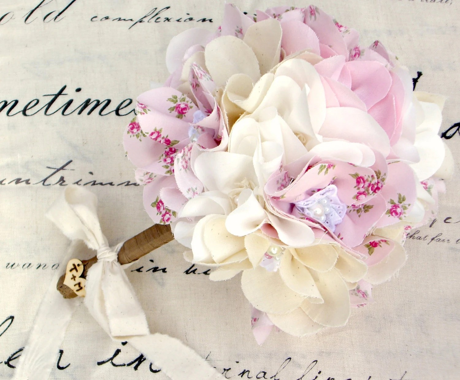 Bridal bouquet, Weddings, Shabby chic, Fabric flowers, Pink cotton magnolias, Bride - Innstyches