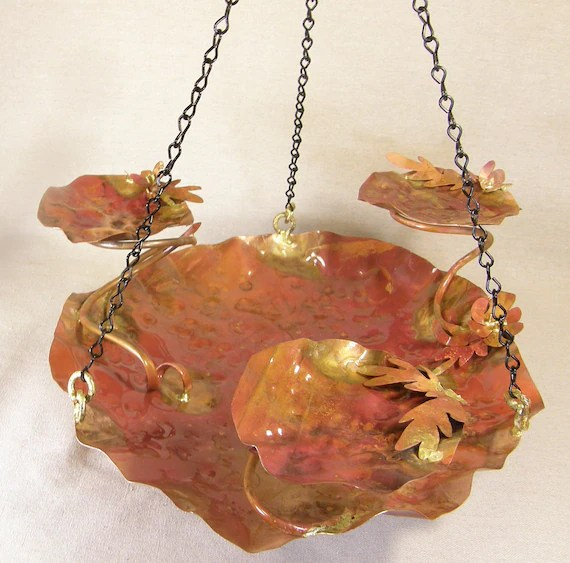 Hanging Copper Bird Bath with Three Cups, Leaves and Flowers Copper Garden Art - meadowlandsstudio