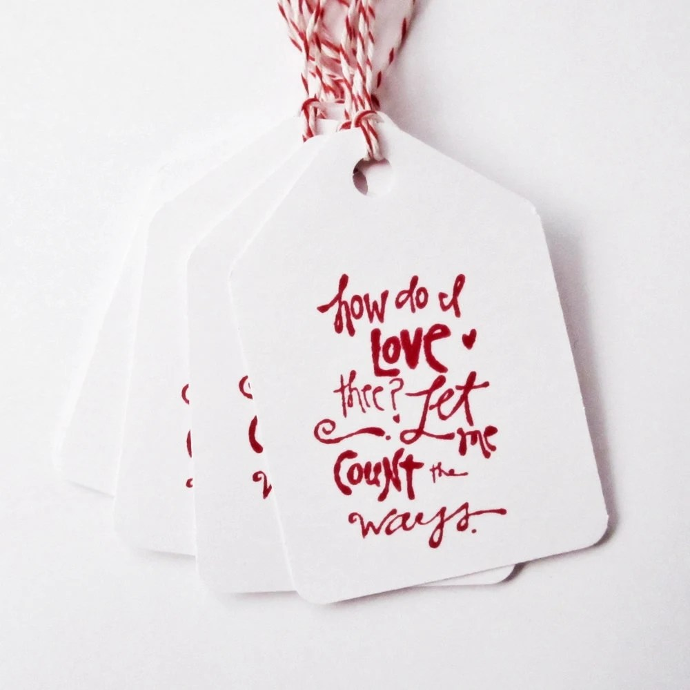 Gift Tags How Do I Love Thee Hand Stamped 8 STR215 - StrumAndSparkle