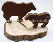 Handmade BEAR HOME DECOR, Wildlife Cutouts, Silhoutte Style, Black Bear, Brown Bear, Distressed, Rustic Juniper Wood Slab Base, Mama & Cub - SapphireMountainLoft