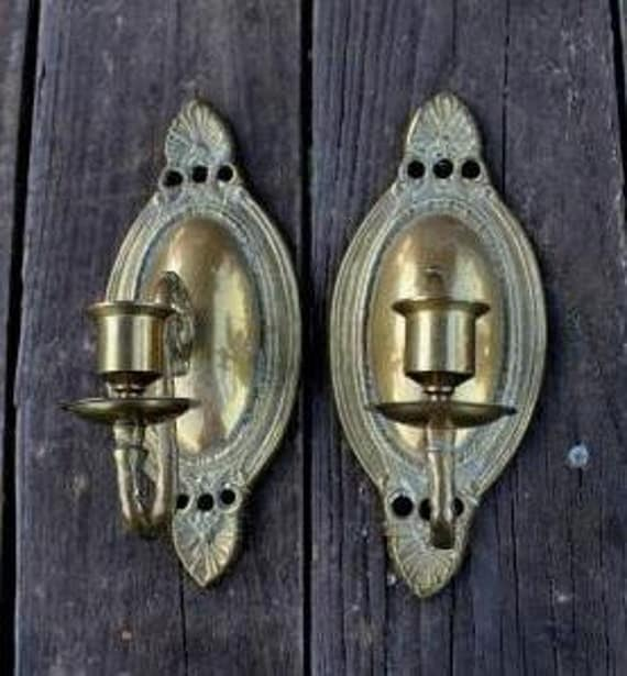 Pair Vintage Brass Wall Mounted Candle Holders Sconces on Wall Mounted Candle Sconce id=98818
