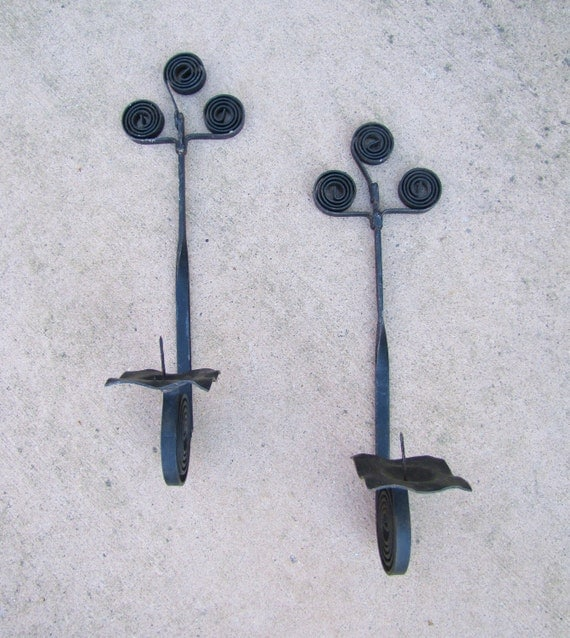 Wrought Iron Wall Sconces Pair Pillar Candle Holders Black on Black Wrought Iron Wall Candle Holders id=49149
