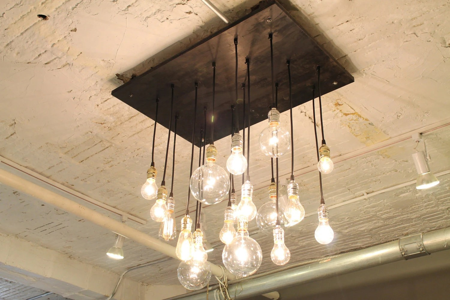 Industrial Chandelier With Vintage Bulbs By Urbanchandy On