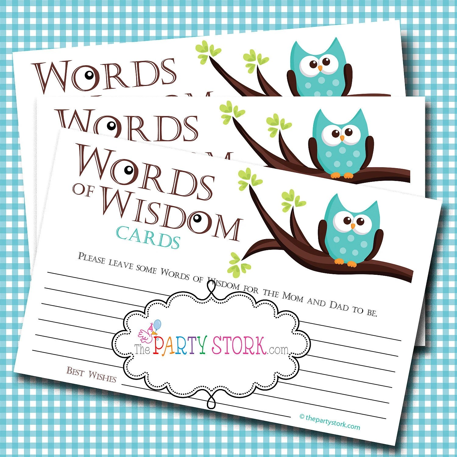 Words Of Wisdom Advice Cards Owl Baby Shower Games Baby