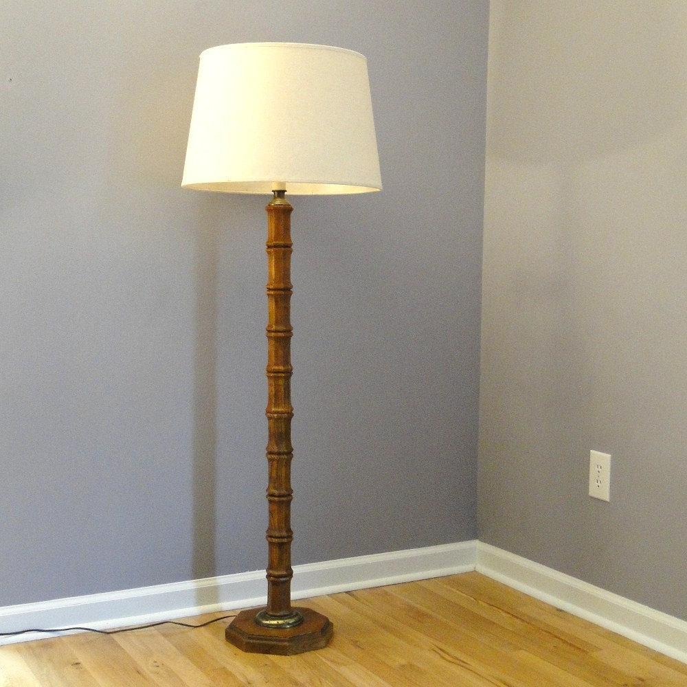 Vintage Floor Lamp Bamboo Inspired Lighting Mid Century Modern