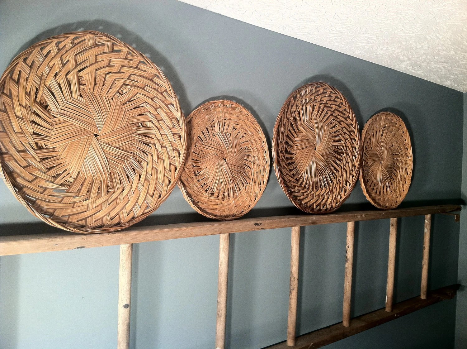 Woven Wicker Wall Decor Round Set Of 4