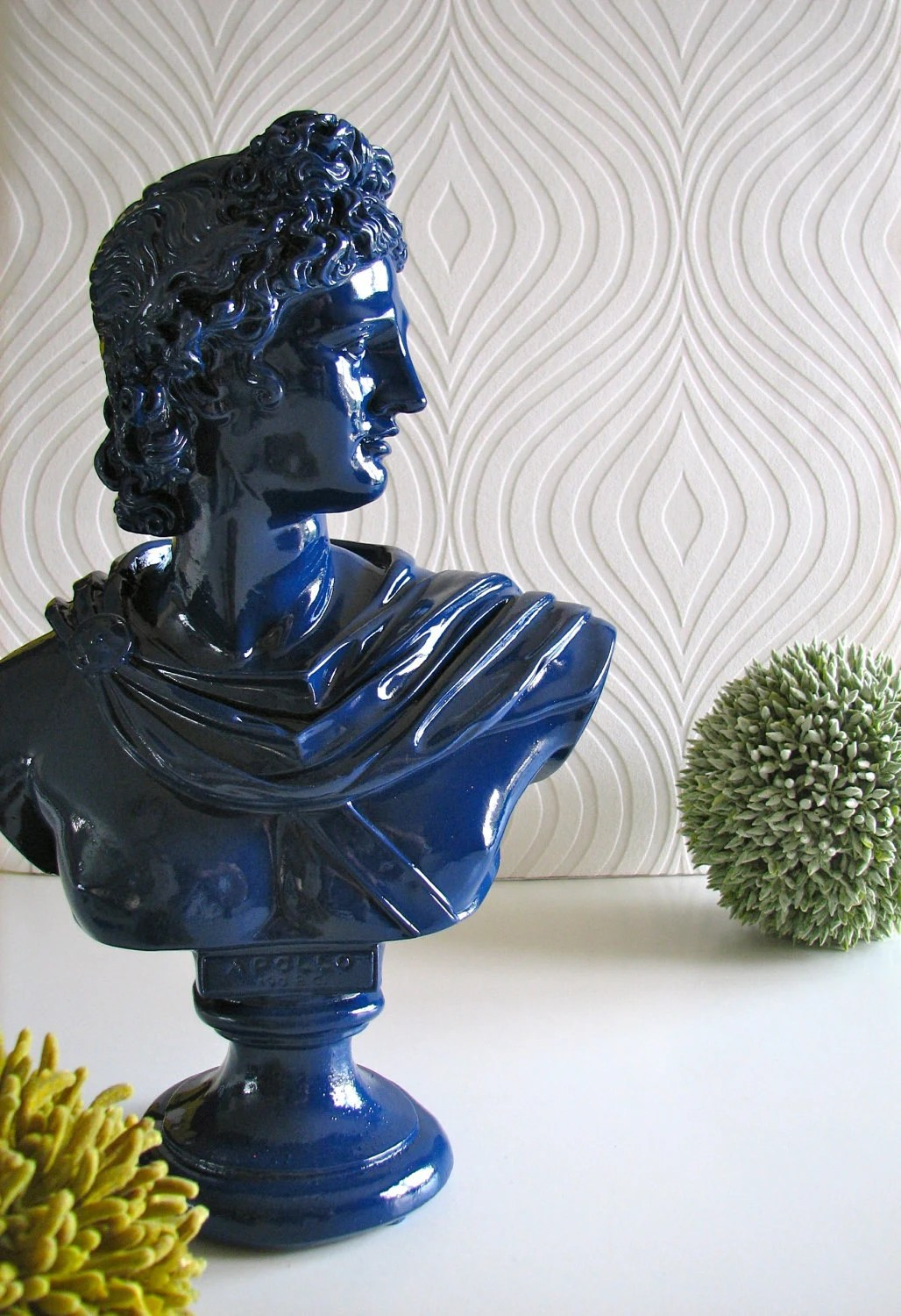 Apollo Bust Statue In Glossy Navy Blue