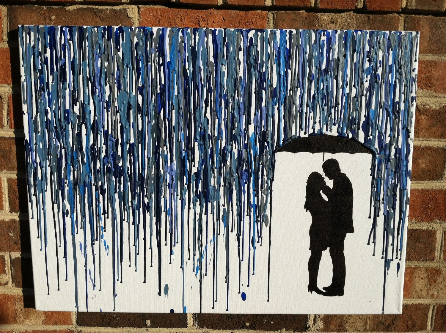Melted Umbrella Crayon Art with Silhouette (Not Customized)