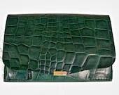 Jade green croc embossed leather clutch purse. - WoodBoneAndStone