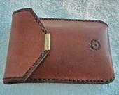 Brown suede lined leather smartphone case with belt loop. - WoodBoneAndStone