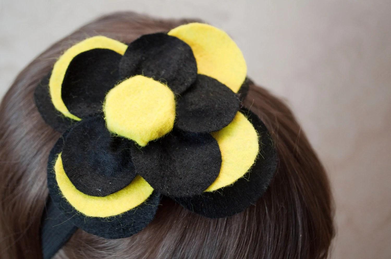 Baby Flower Headband - Yellow , Black Felt Flower Headband Girls Women