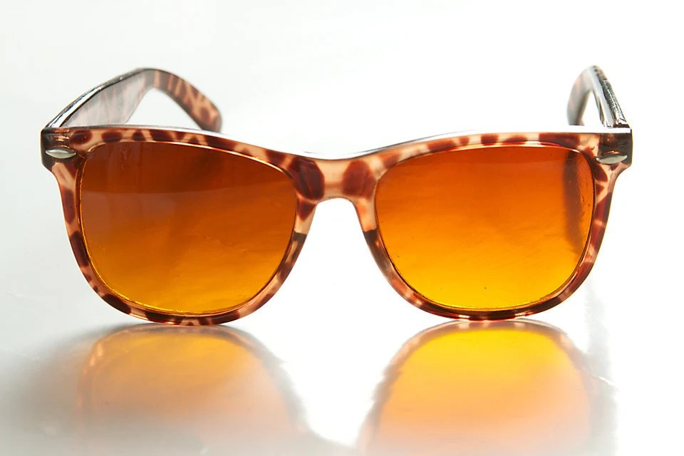 Vintage Hipster Retro Adult Large Variegated Brown and Amber  Sunglasses