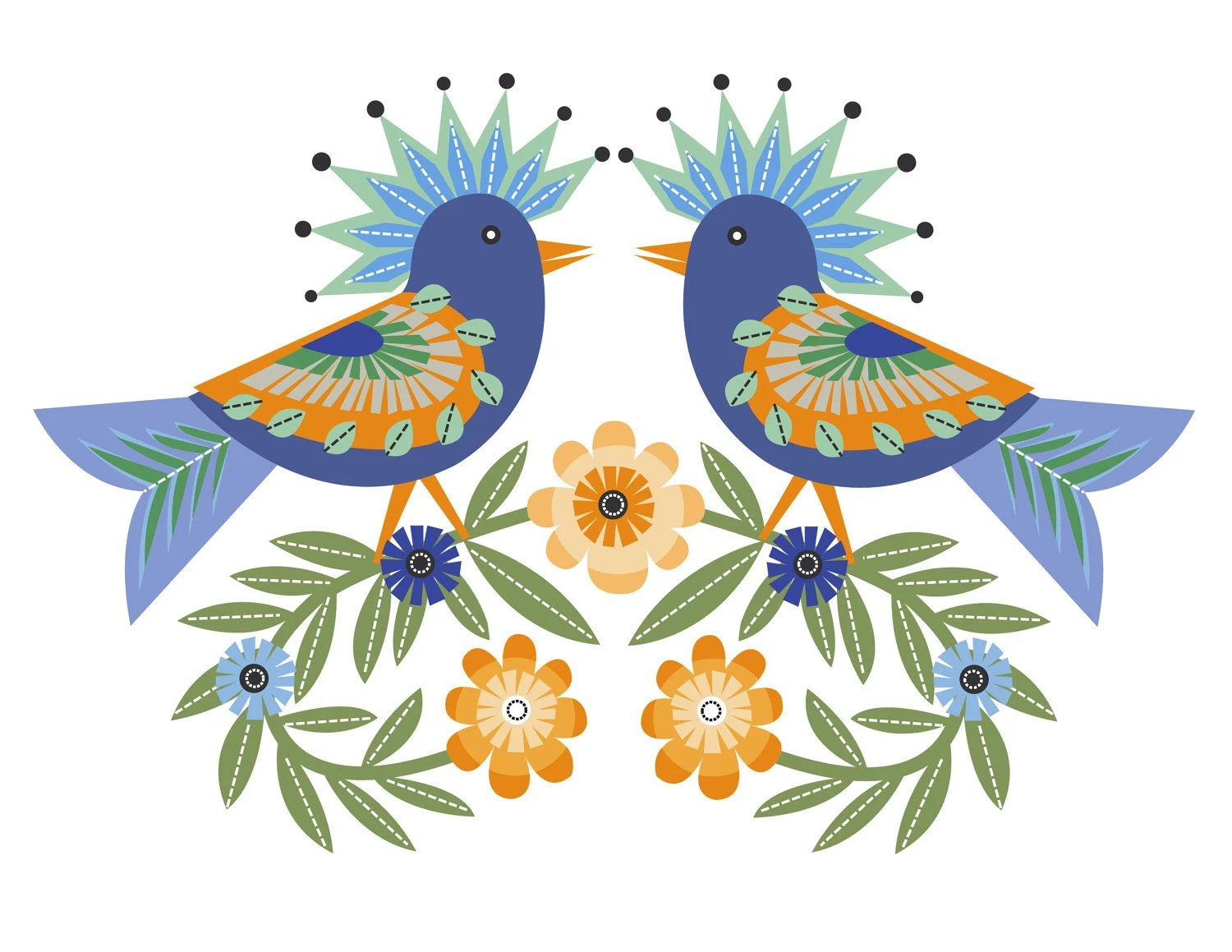 CbyC Original Illustration - Folk Art Birds Limited Edition Print - cbycdesignstudio