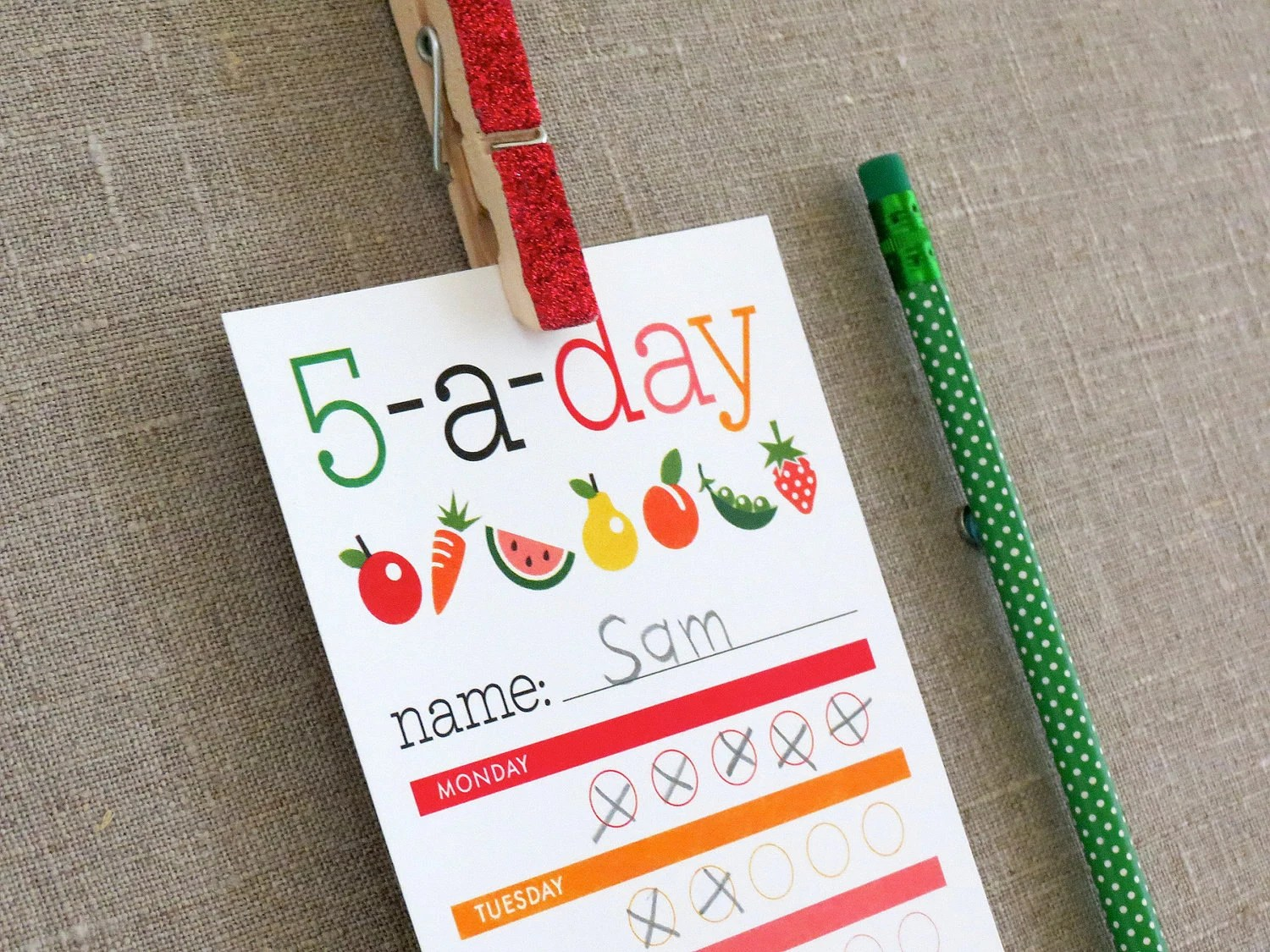 Healthy Eating Chart For Kids 5 A Day Printable