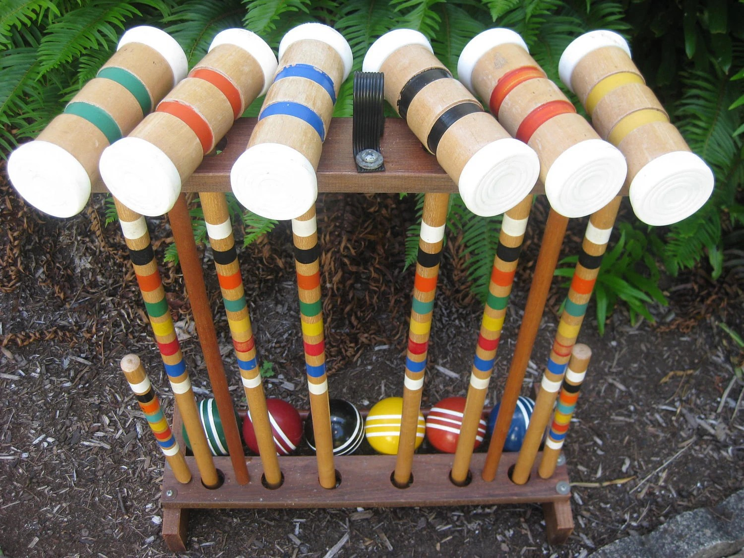 Vintage Wood Croquet Set With Stand