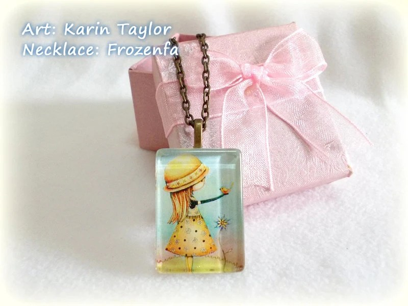 Summer Days Are Golden - Rectangle Glass Tile Necklace